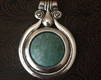 Decorative medallion pendant turquoise accent 73x53mm antique silver finish magnesite center One piece, bold pendant 27-21-T