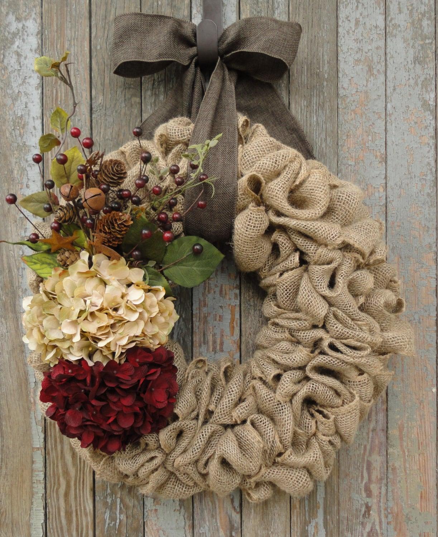 Christmas hydrangea wreath christmas burlap wreath christmas for Burlap christmas curtains