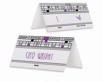 Modern Print-at-Home Place Cards Print-ready Frank Lloyd Wright Dinner Menu with Printable Thank You Card and Modern Table Number Card