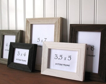 BARNWOOD FRAME Small Black White Brown Grey Cream Photo Picture Frame 3x4 3X5 3.5X5 4x5 4x6 5x7 6X8 7X9 w/ Glass Easel Back Stand Barn Wood
