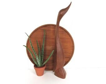 Mid Century Large Wooden Teak Duck, Danish Modern Hand Carved Wooden Bird Figurine,