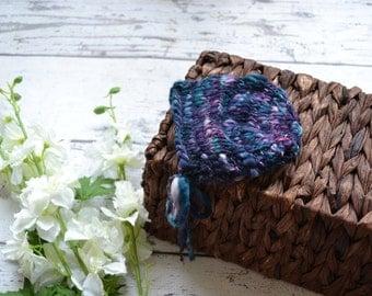 OOAK newborn photography prop - Hand dyed Bonnet - Handspun - Photography prop