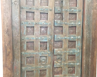 Antique Doors, Floral Patina Vintage Indian Architecture, Old Haveli Door, Spanish, Moroccan, Mediterranean Boho Shabby Chic Interiors