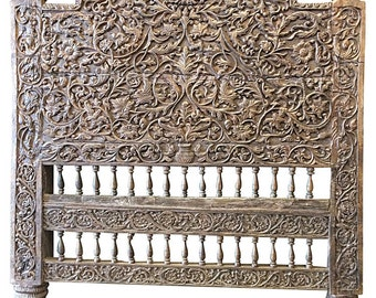 Antique Vintage Headboard Intricate Jaipur Floral Carved Wood Bed Frame