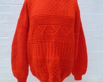 Vintage jumper xl sweater knit clothing mens top womens large sweater handmade red jumper valentine 80s sweater top knit chunky fashion top.