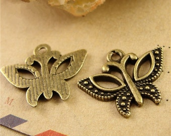 100 Butterfly Charms, 22x16mm Brass Tone Butterfly Pendants A3832
