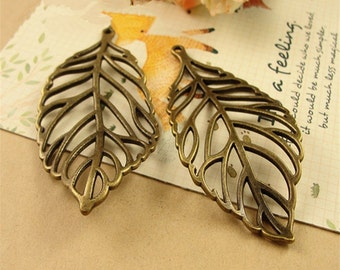 20 Leaf Vein Charms, 72x35mm Brass Tone Leaf Shape Pendants A3646