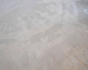 """Vintage White Linen Damask Long Tablecloth Asters 71"""" x 84"""""""
