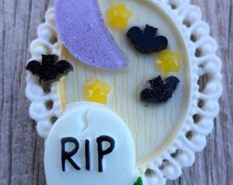 Creepy Cute Pendant. Midnight Scene in a grave yard Pendant. Pastel Goth Pendant. I heart halloween pendant.