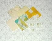 Vintage Yellow Floral Stripe Check Fabric Quilt 4x4 Squares 72pcs