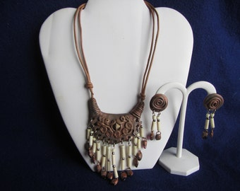 vintage NECKLACE with dangling beads and matching EARRINGS:  Jewelry
