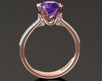 Amethyst Engagement Ring Amethyst Ring 14k or 18k Rose Gold Matching Wedding Band Available W18PUR
