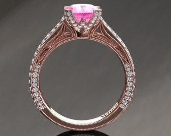 Pink Sapphire Engagement Ring Pink Sapphire Ring 14k or 18k Rose Gold Matching Wedding Band Available SW9PKR