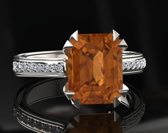 Citrine Engagement Ring Emerald Cut Citrine Ring 14k or 18k White Gold Matching Wedding Band Available W13CITRW