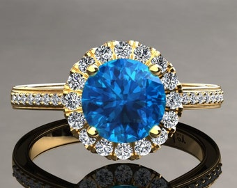 Topaz Engagement Ring 1.00 Carat Blue Topaz And Diamond Halo Ring In 14k or 18k Yellow Gold. Matching Wedding Band Available W20BU2Y