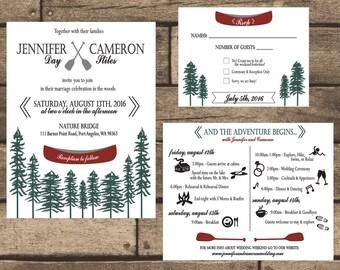 printable wedding weekend on the lake invitation kit invitation weekend itinerary - Camping Wedding Invitations