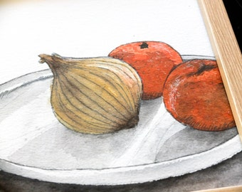 Watercolour with onions