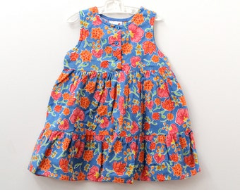 Vintage Ladybird A-line blue dress with bright orange flower print, 18-24 months