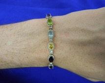 """Sterling Silver 925 Multi- Colored Gem Bracelet 7.75"""" Long ET 6114"""