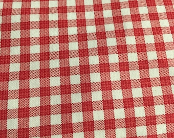 Home Decor Fabric red and white checkered. 1 Yard