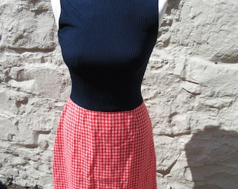 Vintage 60s dress approx UK size 8 blue fitted top red white check gingham skirt