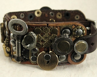 """342 """"Attic With Antiques"""" Steampunk Burning Man Assemblage Palimpsest Bracelet Recycled Jewelry Industrial Machine Age"""