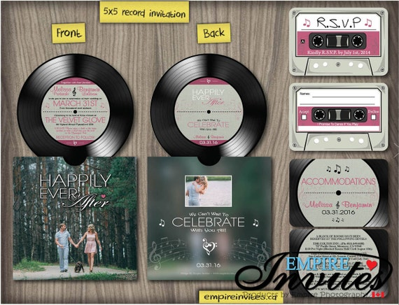 Music wedding invitation vinyl record invitations custom for Etsy vinyl wedding invitations