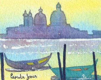 ACEO, Original Watercolour, Yellow Sky, Venice, Italy, Miniature Painting, Home and Living, Mothers Day, Gift Idea, Art And Collectibles