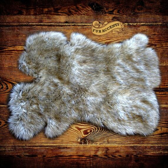 Shag Rug Sheepskin Gray Wolf Skin Fox Faux Fur Pelt By