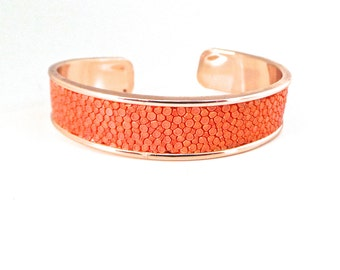 Stingray leather strap orange