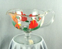Vintage Royal Danube Serving Glass // Hand Painted // Gravy // Dressing // Eggnog // Made in Romania