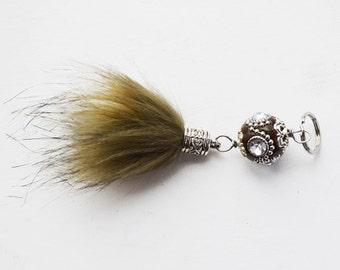 Fur Ball Keychain // Gypsy Keychain // Tassel Purse Accessory