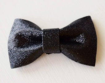 Black Glitter Hair Bow - Sparkly Black Bow - Small Black Bow - Baby Girl Bows - Cute Bows - Black Hair Accessory - Toddler Bows - Adult Bows