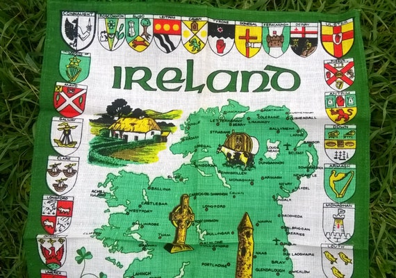 Ireland Green Linen Dish Cloth Irish Kitchen Towel Unused #sophieladydeparis