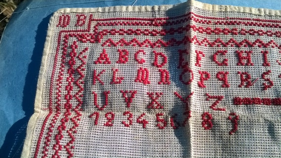 Alphabet Sampler Victorian ABC red-work sampler French alphabet red hand embroidered Wall Art #SophieLadyDeParis