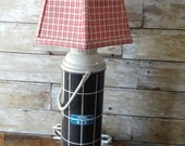 Vintage Thermos Lamp Revamped Black Blue White Larger Size