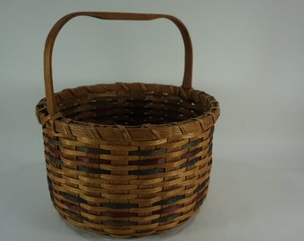 Basketville Basket, Woven Split Oak Basket w/ Handle, Vintage ROUND Basket, Free Shipping