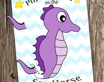 Pin the Tail on the Seahorse - Pin the tail on the donkey game - Party Games