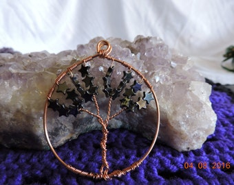 Tree Of Life Hematite Stars for Organization of the Mind, Grounding and Calming , Descreasing Negativity, Root Chakra