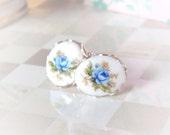 Blue Rose Stud Earring | Sterling Silver | Powder Blue Rosebud | Vintage Porcelain Cabodchon | Post Earring | Lace Scalloped Bezel
