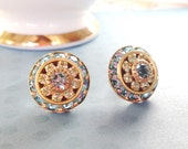 Large Crystal Post Earrings, Blue Vintage Swarovski, Triple Layer Round, Set on Sterling Silver Posts