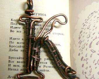 Copper wire wrapped pendant  letter K