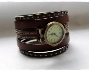 Chocolate Leather cuff watch