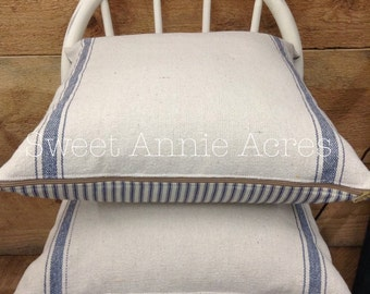Grain Sack Pillow Cover/Blue Stripe/Cream Fabric/Zipper Closure