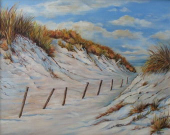 Sand Dunes Path,ocean, sea grass ,dunes, ocean, blue cloudy sky, framed 26 in x 22 in.