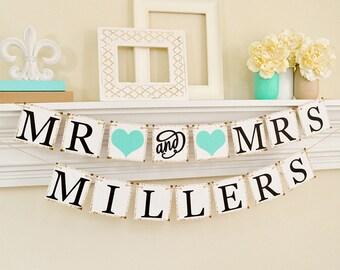 Bannière de mariage, Mr et Mme bannière, mariage signes, Mr et Mme signe, signe de mariage décor, Table de mariage, lumière décorations de mariage turquoise, B205