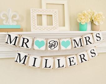 Wedding Banner, Mr And Mrs Banner, Wedding Signs, Mr And Mrs Sign, Wedding Decor, Wedding Table Sign, Light Teal Wedding Decorations, B205