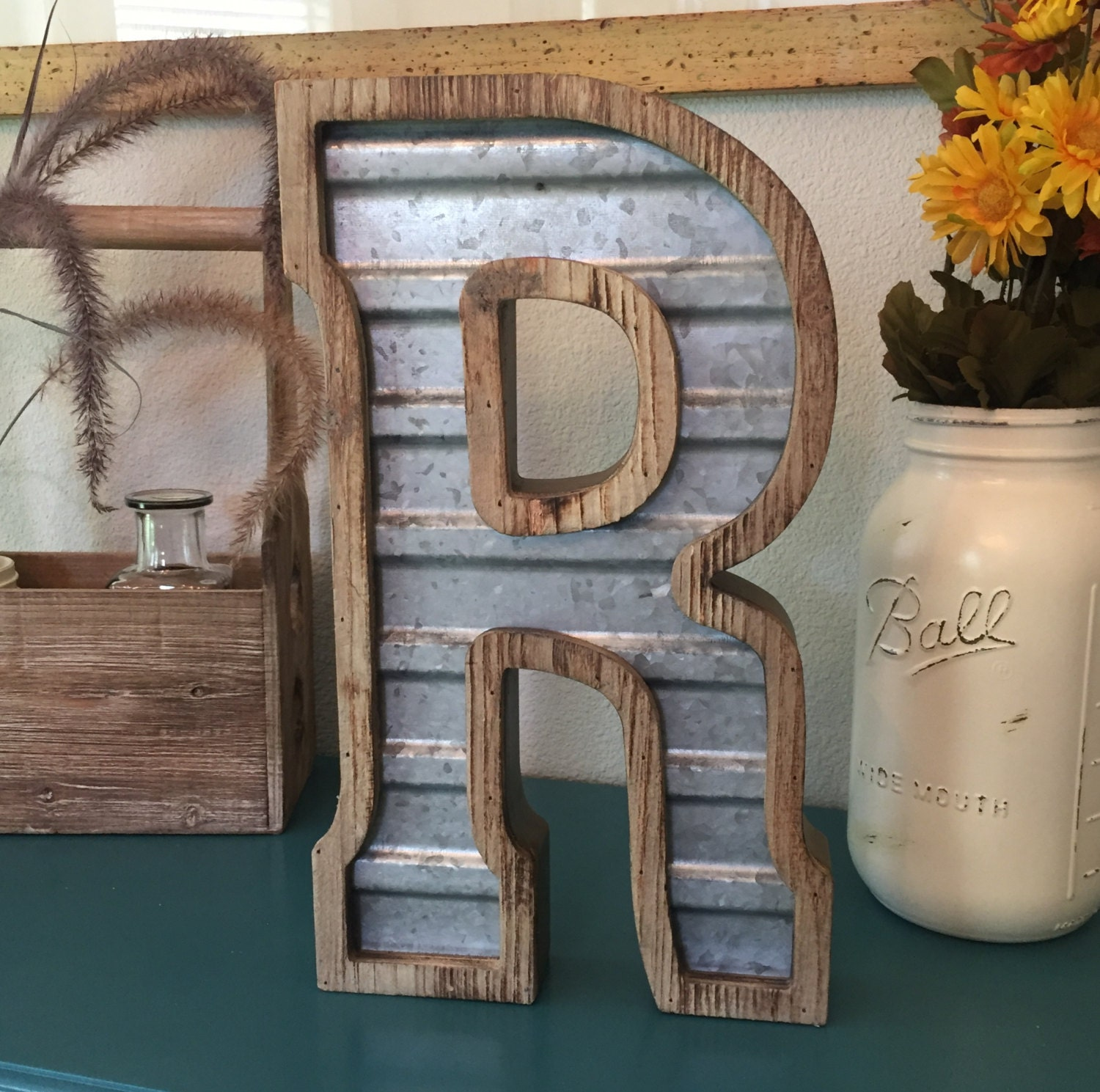 Large Metal Letter R Large Wood & Corrugated Metal Letter R  Wedding Home Family