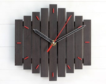 Wall Clock, Wooden Clock, Silent Wall Clock, Romb Clock, Wooden Gift, Office Clock, Dark Wall Clock, Big Clock, Wall Decor, Industrial Clock