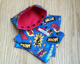 Super Hero Snack Bag - 3 piece set - reusable - eco friendly - sandwich bag - back to school - snack pouch - reusable bag - lunch bag